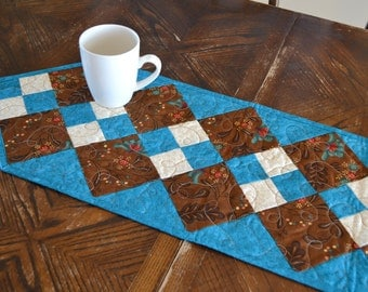 Quilted Table Runner, Patchwork Quilt Runner, Southwest Decor, Turquoise Blue Brown, Country Quilt