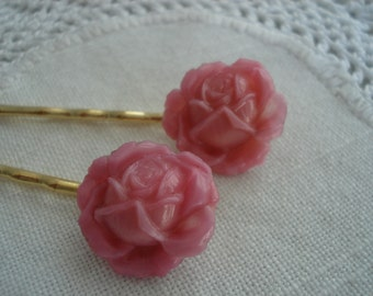 Vintage Antique Art Deco Czech Pink Satin Etched Carved Glass Cabbage Rose and Gold Bobby Pins