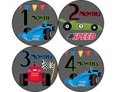 Monthly Baby Stickers, Boys First Year Photo Props, Baby Month Stickers, Baby Announcement, Monthly Photos, Baby Gift, Race Cars (B064)