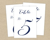 Instant Download - Navy Table Numbers (4x6) - modern design DIY. Wedding reception (11-20) nautical, decor, party