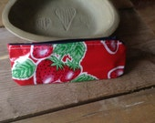 Strawberry fields oilcloth pouch