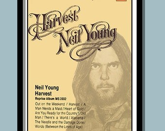 Neil Young Poster.   1972 Harvest Promo   Large A2 (40 x 60 cms ) Print