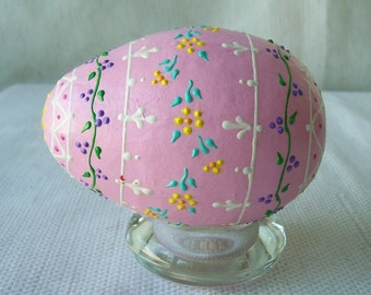 Pastel pink paper mache egg with raised dots and lines all over floral pattern-174.