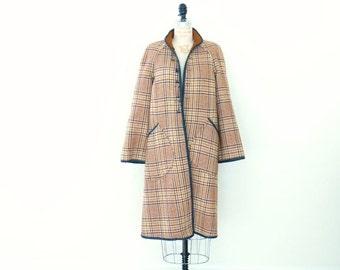 Plaid Vintage Trench Coat // Reversible Wool Trench Jacket Plaid Sienna Brown Black Tan Cream - S/M
