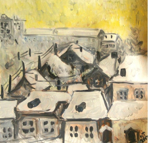 "Original oil-paintings by Nana Manucharyan, oil paints, paper, winter landscape, ""View From The Window To Yerevan"""