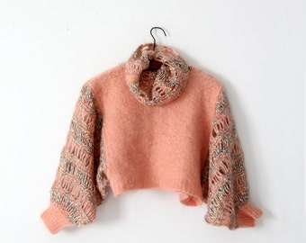 FREE SHIP  vintage cropped sweater, lace sleeve knit pullover
