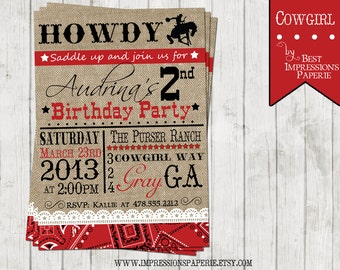 Cowgirl - A Customizable Birthday Invitation - Cowgirl Party - Western Party - Red Bandanna, Burlap and Lace