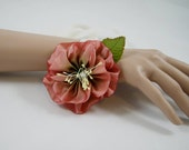 Green to Pink Ombre Ribbonwork Wrist Flower, Floral Corsage, Wedding, Bridal, Woodland, Fairy