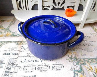 "Small French  Vintage   blue lidded  enamel"" cocotte"" 1930s"