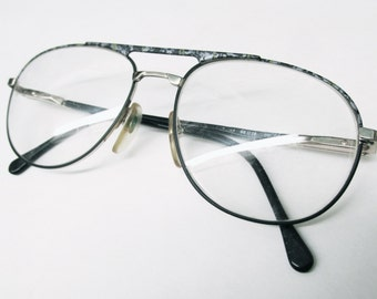 1990s italian aviator frames with grey and green flecks and spring arm hinge