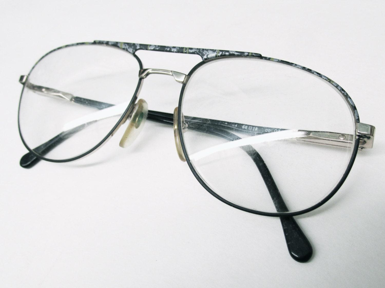Aviator Eyeglasses Frame : 1990s Italian Aviator Frames with Grey and green flecks and