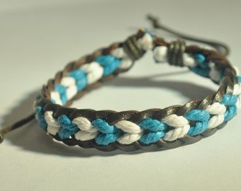 White and Blue hemp cord and Brown leather braided bracelet