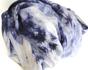 SALE   ...   shades of ink and indigo  ... extra  large hand dyed silk scarf