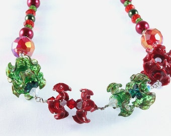 Christmas Necklace, Lampwork, Crystal, Sterling Silver