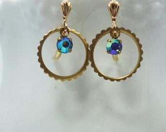 Scalloped rass Circles Vintage Swarovski Blue Chaton Crystal  bridal bridesmaids long estate elegant old hollywood Pink