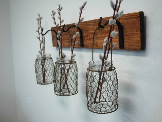 Wire kitchen wall decor : Chicken wire trio mason jar wall decor by pineknobsandcrickets