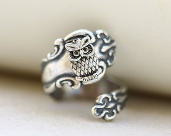 Owl Silver Spoon Ring,Antique Spoon Ring,Jewelry Gift, Bird Ring,Ring,Antique Ring,Silver Ring,Wrapped,Adjustable,Bridesmaid.