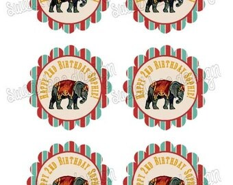 Circus Birthday Cupcake Toppers, Circus Birthday Favor Tags, Circus Birthday, Circus Cupcake Toppers, Circus Party Toppers