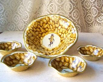 Vintage Mr. Peanut Tin Nut Dish Set Planters Peanuts 1950s