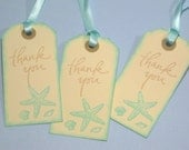 Set  of 10 Cream Beige Aqua Seashore Starfish Seashell Wedding Favor Thank You Tags - Beach - Destination Wedding - Bridal Shower Favors
