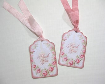 10 Pink French Marie Antoinette Vintage Paper Tags with Roses- Thank You Tags - Shabby Chic Wedding - Bridal Shower Tags - Quince Favor Tags