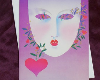 Masquerade Mask Blank Greeting Card 1981