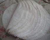 FLEISHHACKER SF Estate Set 12 Antique Belgium Needlelace Lace Linen Doilies Placemats With Tags E44
