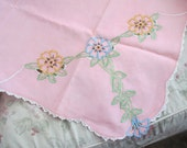 Vintage Pink Tablecloth Blue Embroidered Flowers CUTTER A18