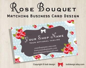Business Card design to match Rose Bouquet Premade shop set