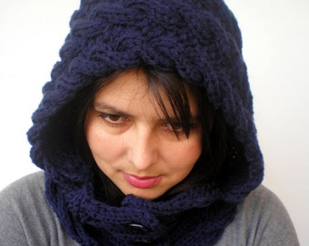 Lady Marion Honney Navy  Hood Super Soft mixed Wool Hooded Cowl Hand Knit Cabled Hat Hood NEW COLLECTION