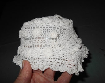 baby Christening cap Vintage hat White bonnet hand crocheted