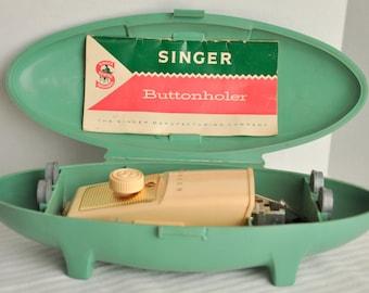 Vintage Singer Buttonholer Sewing Machine Attachment in Original Aqua Green Case