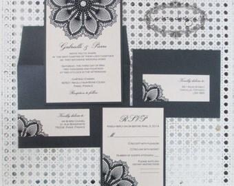 Lace wedding invitation - black lace doily - Gabrielle Collection-  Sample