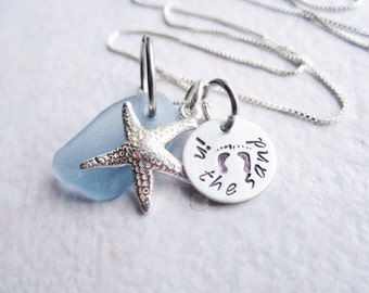Beach Glass Necklace Sea Glass Jewelry Starfish necklace  Sterling silver  toes in the sand necklace