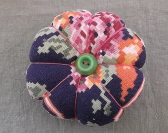Pincushion-Vintage Fabric and Vintage Button Accents-Free Shipping