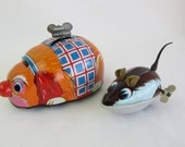 Vintage 1960s Tin Wind-up Dog with Mouse Side-kick