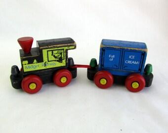 Vintage 1970s Wooden Train From Mattel 2 piece set
