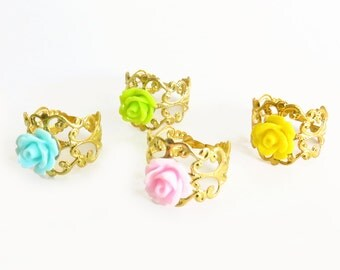 Rose on Gold Filigree Adjustable Ring - 4 Color Selection