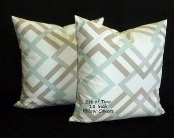 """Throw Pillows, Decorative Pillows, Accent Pillows, Pillow Covers, Home Decor - Set of Two 18"""" - Colors include sage, taupey grey and white."""
