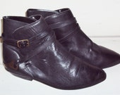 80s Black Ankle Boots leather with Straps Gold-tone Accents