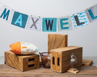 Customizable Name Banner ~ Fabric Word Banner ~ Photo Prop ~ MAXWELL Collection