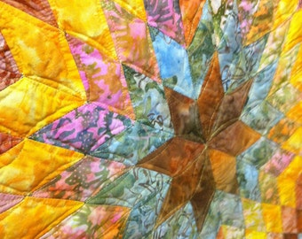 Art Quilt -Autumn Batiks Lone Star OOAK Wall Hanging Quiltsy Handmade