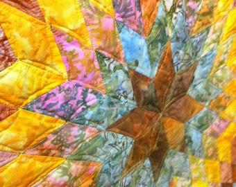 Art Quilt -Autumn Batiks Lone Star Wall Hanging Quiltsy Handmade