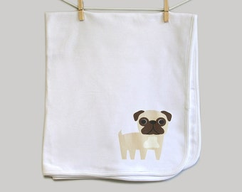 Baby receiving blanket, pug. Super soft 100% cotton.