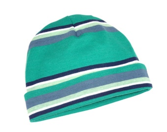 Cotton Jersey Knit Baby Beanie Hat - 0-3 month, 3-6 month - Boy - Green/Gray/Charcoal/White Multi Stripe