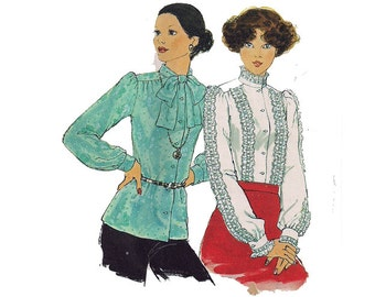 Secretary Blouse Sewing Pattern Peter Pan or Bow Collar Vintage 70s Size 10 Bust 32.5 (82 cm) Simplicity 8117