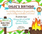 Bonfire Party Invitation Chevron Bunting Invite Birthday Printable bonfire s'mores