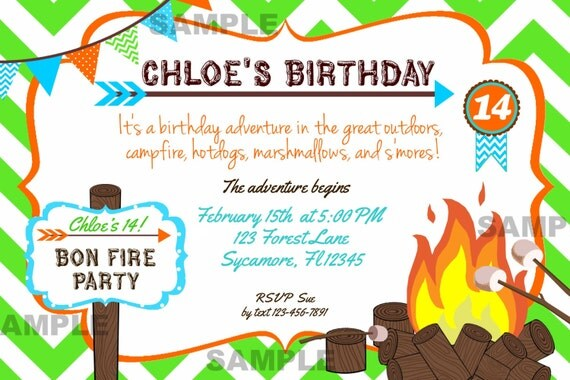 Bonfire Party Invites with nice invitation sample
