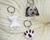 Lampwork Glass Dog, Bone & Pawprint Knitting Stitch Markers - Set of 3