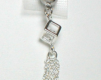 Silver Belly Ring Square with CZ Inside and Dangling Chains